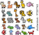 big set of cartoon animals and... | Shutterstock .eps vector #97207763