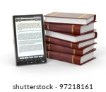 e book reader and  stack of...   Shutterstock . vector #97218161