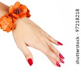 closeup of young woman hand with long red manicure wearing tangerine orange leather bracelet on white background - stock photo