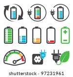 Colorful battery icons , recycling concept - stock vector