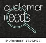 customer needs business written on blackboard background - stock photo