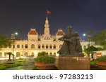 People´s Committee building at night in Ho Chi Minh City, Vietnam - stock photo