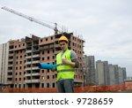 construction worker in uniform... | Shutterstock . vector #9728659