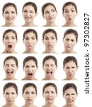 multiple close up portraits of... | Shutterstock . vector #97302827
