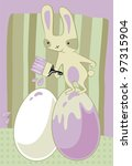 funny cartoon with easter bunny ... | Shutterstock .eps vector #97315904