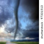 an image of tornado and road - stock photo