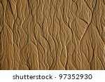 Tree-type texture on the sand beach while low tide time - stock photo