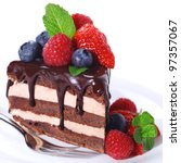 Piece of chocolate cake with icing and fresh berry on white isolated background - stock photo