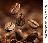 closeup of coffee beans with... | Shutterstock . vector #97429475