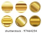 Set of golden seal - stock photo