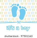 It Is A Boy Card With Footprin...