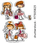 cartoon fashionable girls | Shutterstock .eps vector #97505825