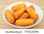 Bowl with potato croquettes - stock photo