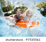happy family playing in blue... | Shutterstock . vector #97535561