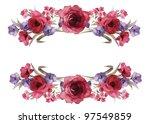 flowers frame in white... | Shutterstock . vector #97549859
