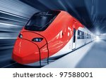 Fast train in motion - stock photo