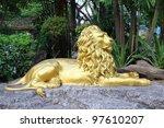 Golden Lion Statues.