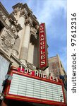 LOS ANGELES - JAN 12: The Los Angeles Theater, erected in 1931, was the latest & most opulent of South Broadway's collection of magnificent movie palaces. - stock photo