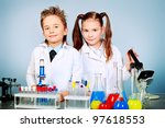 two children making science... | Shutterstock . vector #97618553
