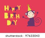 cute happy birthday card with... | Shutterstock .eps vector #97633043