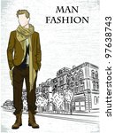 vector sketch of fashionable... | Shutterstock .eps vector #97638743