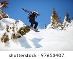 snowboarder jumping on mountain ... | Shutterstock . vector #97653407
