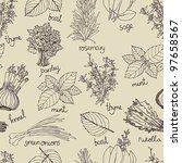 herbs background | Shutterstock .eps vector #97658567