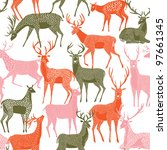 decorative seamless pattern with deers - stock vector