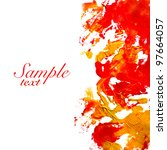 red paint strokes and few brush ... | Shutterstock . vector #97664057