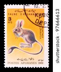 Small photo of AFGHANISTAN - CIRCA 1989: The postal stamp printed in AFGHANISTAN show Euphrates Jerboa - Allactaga euphratica, series animals, circa 1989