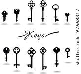 keys vector. vintage key icon  | Shutterstock .eps vector #97668317
