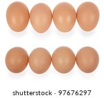 four eggs in row. isolated on a ... | Shutterstock . vector #97676297