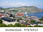 View of St. John's, Newfoundland, the harbor and Signal Hill. - stock photo