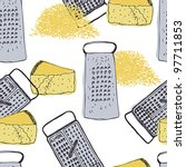 cheese and grater vintage... | Shutterstock .eps vector #97711853
