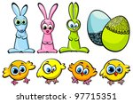 Set of three Easter bunnies, funny chicks and decorated eggs - stock vector