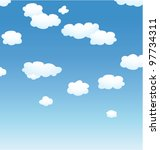 vector background with clouds in the sky - stock vector