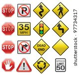 vector set of road signs | Shutterstock .eps vector #97734317