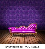 vintage luxury armchair and in purple wallpaper room - stock photo