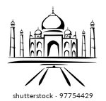 taj mahal vector illustration, symbol in black lines - stock vector