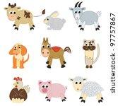 set of farm animals on white... | Shutterstock .eps vector #97757867