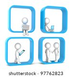 Social Network. 3D little human character X 4. Abstract social network. Blue version. People series. - stock photo