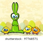 Funny green rabbit and tree yellow chickens - stock vector