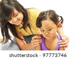 asian ethnic teenage sister counsel moody kid - stock photo