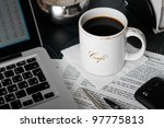 mobile workplace in cafe with... | Shutterstock . vector #97775813