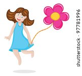 Happy girl jumps and playing with balloon flower - stock vector