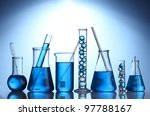test tubes with blue liquid on... | Shutterstock . vector #97788167