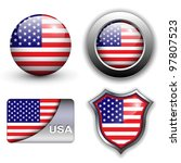 usa  american flag icons theme. | Shutterstock .eps vector #97807523