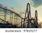 roller coaster loops in the... | Shutterstock . vector #97819277