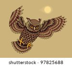 Flying Owl Bird. Vector illustration. - stock photo