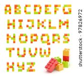 Alphabet set made of toy construction brick blocks isolated isolated on white - stock photo